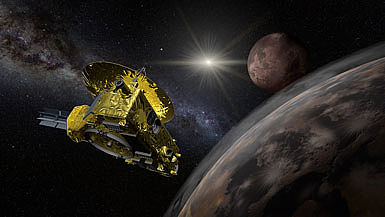 New Horizons passing Pluto at a close distance (Source: shutterstock)