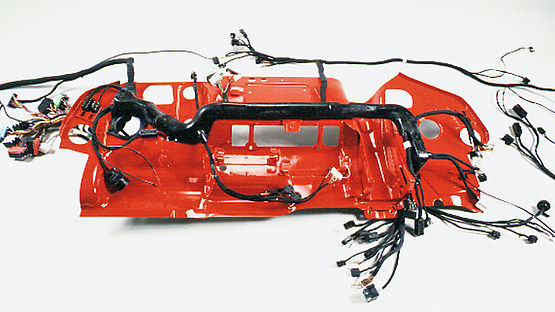 First pre-formed cable harness in the 1990s